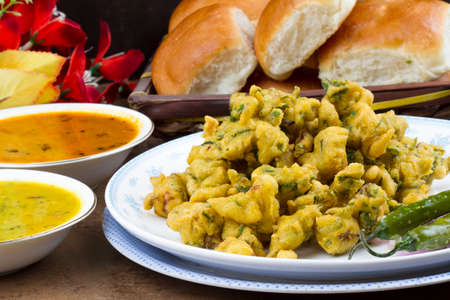 Indian special traditional fried food Pakora and chutney