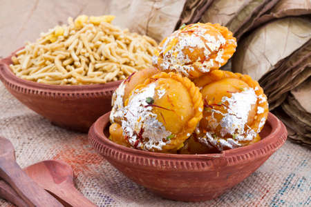 Chandrakala is an Indian Diwali sweet recipe with maida and khoya as main ingredients Stock Photo