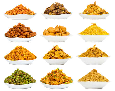 Variety of Indian Traditional namkeen Set Stock Photo