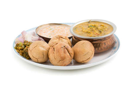 Indian Cuisine Dal Baati, It is Popular in Rajasthan, Uttar Pradesh and Madhya Pradesh