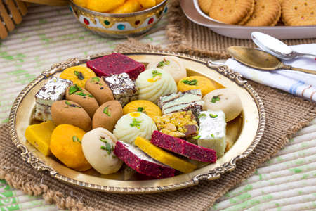 Indian Traditional Mix sweet food Stock Photo