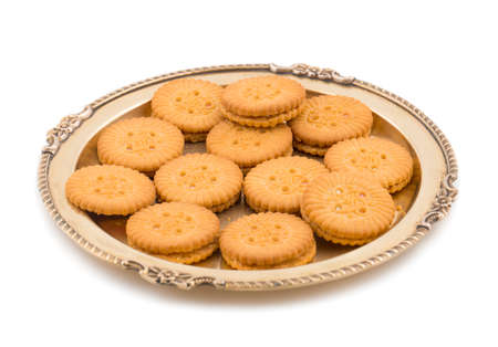 Group of sweet biscuits isolated on white