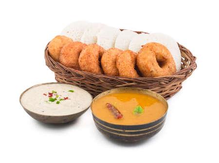 idli, sambar,vada and coconut chutney, south indian breakfast isolate on white Stock Photo