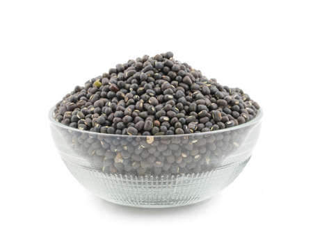 vigna: Black Mung bean split Pulse unpolished with cover isolate on white
