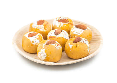 Indian Traditional Laddu Sweet Food Also Know as Besan Laddu Isolate On White Stock Photo