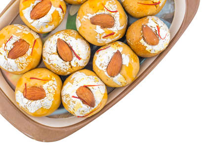 Indian Traditional Laddu Sweet Food Also Know as Besan Laddu  isolate on white