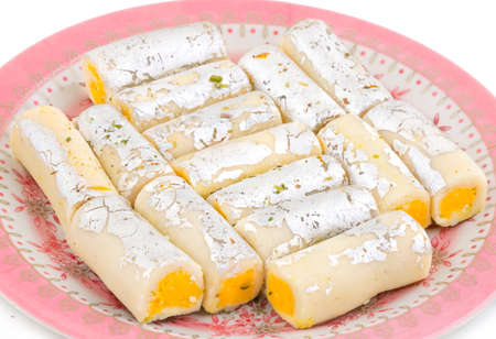 Indian Traditional Sweet food Kaju Roll Stock Photo
