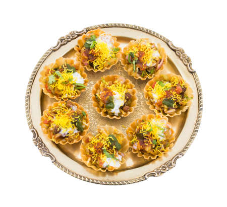 Indian Traditional Street Food Sevpuri or Katori Chaat Isolate On White Stock Photo