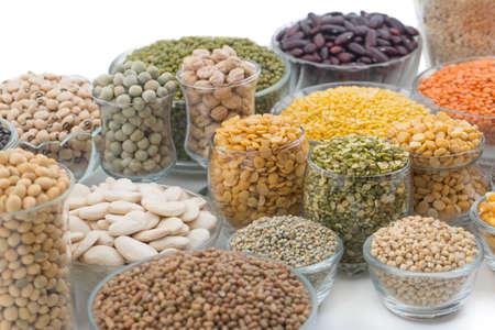 black gram: Variation of lentils, beans, peas, grain ,soybeans, legumes on white