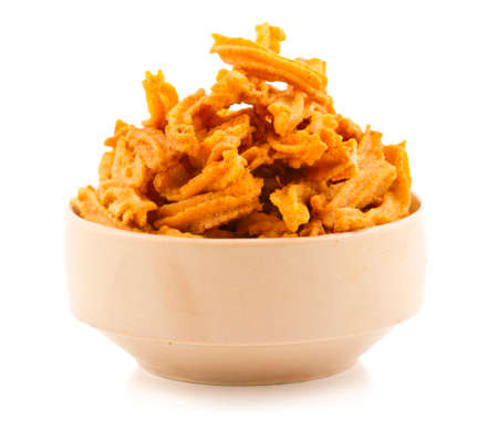 Indian Healthy Deep Fried Soya Chips Tea time Snack Isolate On White