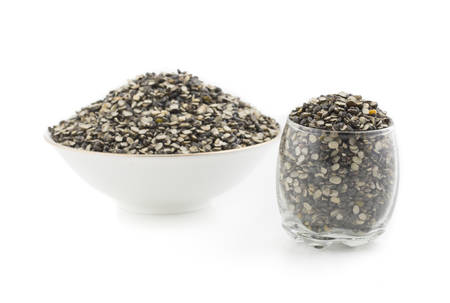 Black Mung bean split Pulse unpolished with cover Stock Photo
