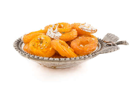 Indian Traditional Sweet food Jalebi Isolate On White