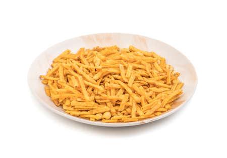 ramzan: Indian Traditional salted food Masala Sevara isolate on white Stock Photo