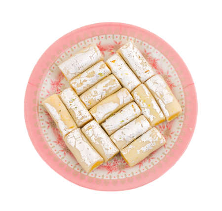 Indian Traditional Sweet food Kaju Roll Isolate On White Stock Photo