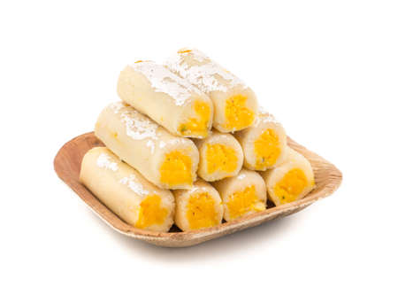 Indian Traditional Sweet food Kaju Roll Isolate On White Stock Photo