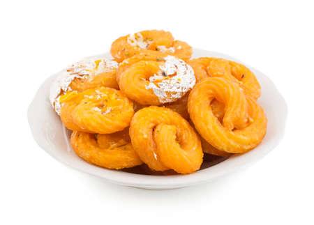 Indian Traditional Sweet food Jalebi Isolate On White