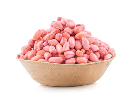 fresh and healthy raw peanuts isolate on white Stock Photo