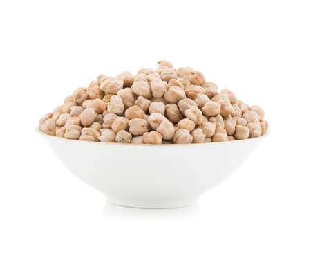Fresh Raw whole chickpeas isolate on white