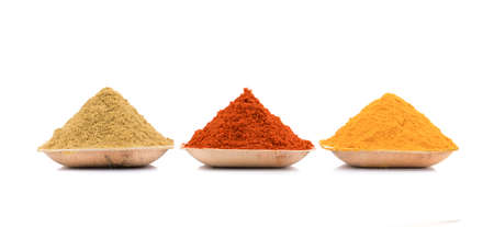 black gram: collection of indian spices ( coriander, chili & turmeric powder)