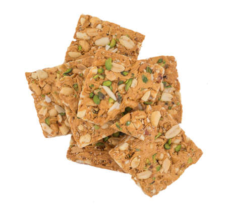 Handmade Kozinaki or ching chikki made from peanuts in a sugar caramel Stock Photo