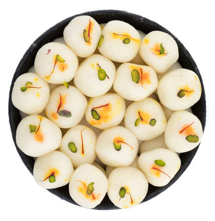 indian sweet Rasgulla, Famous Bengali Sweet over white Background