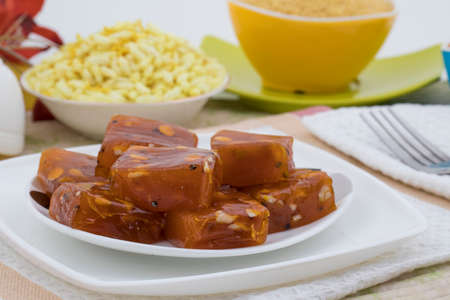 Bombay Karachi Halwa or Turkish Dessert, made from fine flour and Dry Fruits Stock Photo