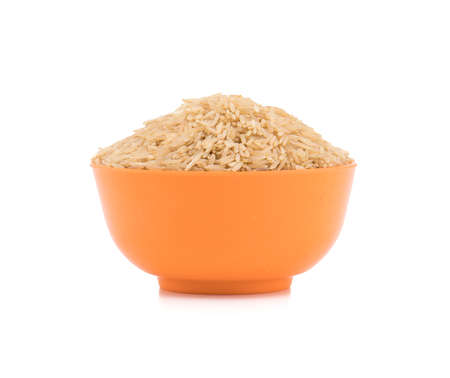 Healthy and fresh Brown Raw rice Stock Photo