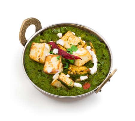 Cuisine indienne Punjabi Palak paneer composé d'épinards et de fromage cottage décoratif à kadhai Banque d'images - 87932810