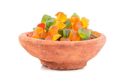 Fresh and Healthy Candied Fruit, made of raw papaya and flavor Stock Photo