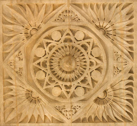 jainism: beautiful carving work on stone at ranakpur temple