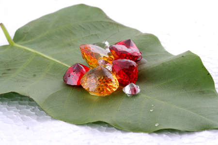 colorful diamonds on leaves Stock Photo