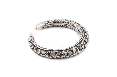silver slave bangle bracelet against a white background
