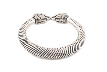 silver slave bangle bracelet against a white background