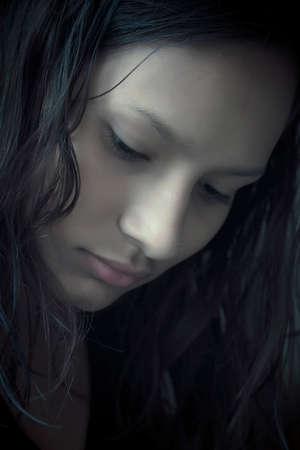 asian teenage girl in dark side Stock fotó