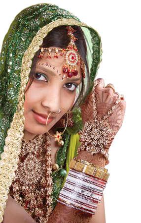 A beautyful Indian girl in bride casual 版權商用圖片
