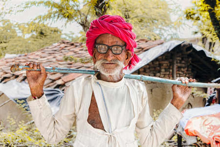 Old Indian Man portrait from village of rajasthan-india,