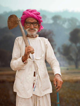 A traditional Rajasthani farmer man with turban