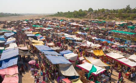 SHEOGANJ-SUMERPUR, INDIA - 04 MAY 2017 top view of bhil community fair, Bhil community is one of biggest community in rajasthan state of india, Fair of Bhil Samaj is celebrated every year of may month