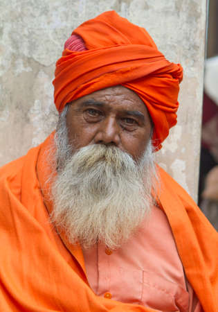Vastanji, India - January 08, 2014: holy man at Muni maharaj Temple in vastanji village, Sadhu devoted his whole life in meditation after wear Saffron religion apparel in india, muni maharaj festival held once in every year, all india holy man togther at