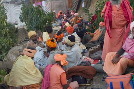 Vastanji, India - January 08, 2014: holy men at Muni maharaj Temple in vastanji village, Sadhu devoted his whole life in meditation after wear Saffron religion apparel in india, muni maharaj festival held once in every year, all india holy man togther at