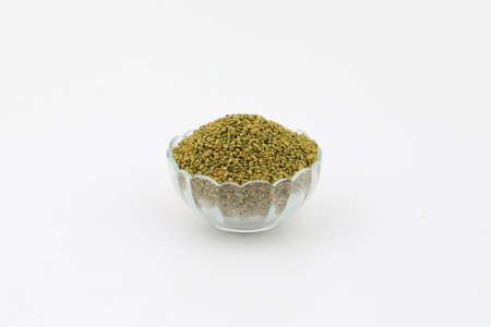 Fresh and healthy green fenugreek seeds isolated on white Imagens