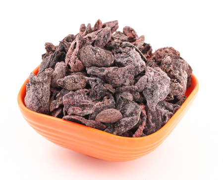 Salted Dried Garcinia isolated on White Background Stock Photo