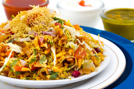 Indian healthy food Bhel Puri on isolated background Stock Photo
