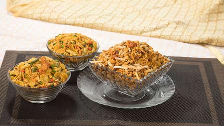 Indian Salty Food Mix Namkeen Food Stock Photo
