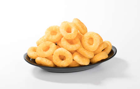 Crunchy Pop Rings a tasty snacks Isolated on white Background Reklamní fotografie