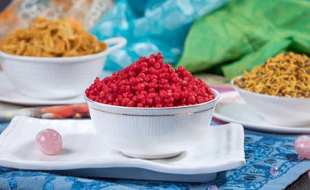 Indian Salty Food Colorful Bundi Namkeen