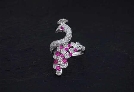 Diamond and gemstone 92.5 Silver Ring under black background 版權商用圖片