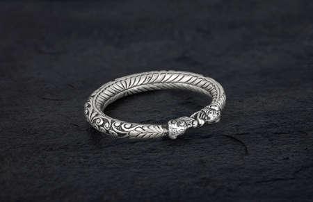 Luxury bracelet 925 Silver finish Isolated on black background
