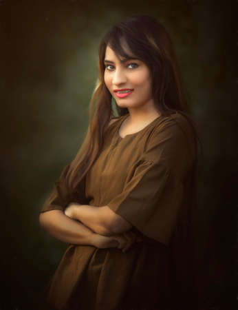 Beautiful young multicultural woman outdoor portrait Stock Photo
