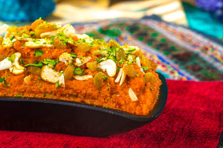 Famous Indian sweet food Homemade Gajar halwa made from carrote, milk, khoya and butter